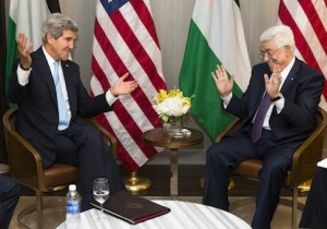 Secretary of State John Kerry, left, meets with Palestinian Authority President Mahmoud Abbas in a bilateral meeting during the 68th session of the United Nations General Assembly, Tuesday, Sept. 24, 2013, in New York. (AP Photo/John Minchillo)