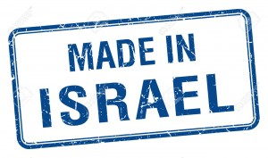 made in Israel blue square isolated stamp
