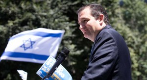 Sen. Ted Cruz gives a speech in support of Israeli military against Palestine at a pro-Israel rally July 17, 2014 in Washington, D.C. (M. Scott Mahaskey/POLITICO)