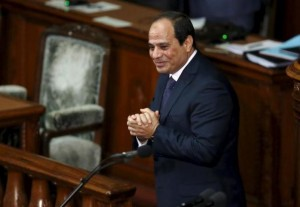 Egypt's President Abdel Fattah al-Sisi reacts after delivering a speech at the Lower House of parliament in Tokyo, Japan, February 29, 2016. REUTERS/Toru Hanai