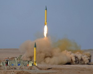 epa03293474 The upgrade version of medium range missile Shahab-1, is launched during the second day of military exercises, codenamed Great Prophet, by Iran's elite Revolutionary Guards at the Lut desert in southeastern Iran, 03 July 2012. Report said that on the second day of a military manoeuvre in the Lut desert in southeastern Iran, several missiles were successfully tested, without giving further details.  The IRGC plans to test all of its short-, medium- and long-range missiles in the ongoing manoeuvre which took place one day after the European Union's latest oil sanctions against Tehran went into effect.  EPA/Mojtaba Heydari